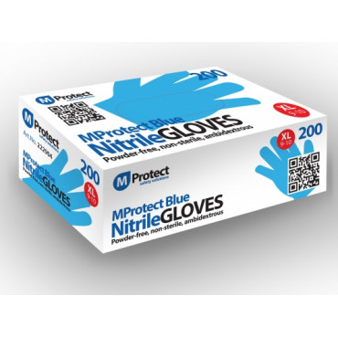 Vienkartinės nitrilo pirštinės be pudros MProtect, mėlynos, XL dydis, 200vnt.