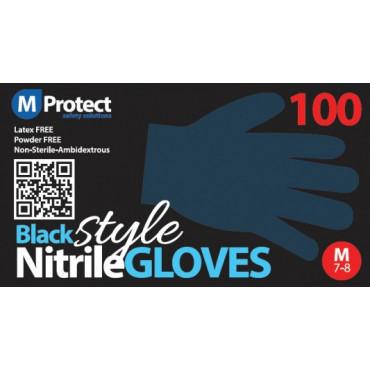 Vienkartinės nitrilo pirštinės be pudros MProtect, juodos, M dydis, 100vnt