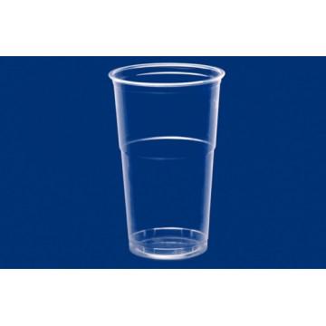 Vienkartinės stiklinės šaltiems gėrimams 500ml (579520510/579530510/579540510), PET, skaidrios, skersmuo 9,5 cm, max +60°C,  50 vnt.